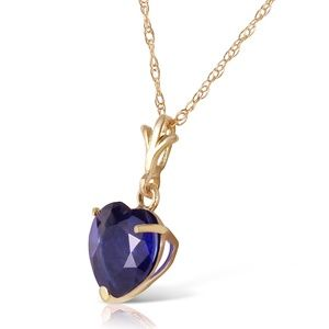 SOLID GOLD NECKLACE WITH NATURAL HEART SAPPHIRE